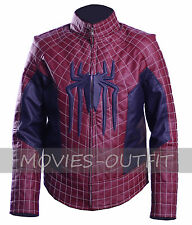 The Amazing Spiderman 2 Andrew Garfield Maroon Blue Leather Costume Jacket SALE