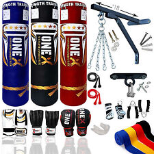 Onex Boxing Set Heavy Filled 4ft 5ft Punch Bag Gloves Bracket Chain Pad MMA Kick
