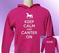 Pink Hoodie KEEP CALM and CANTER ON horse ride riding PERSONALISED name