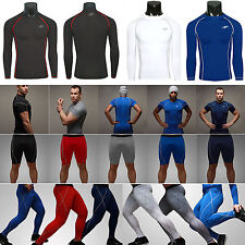 New Mens Compression Base Layer Tights Top T Shirt Under Skins Shorts Pants Gear