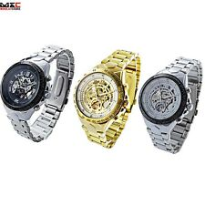 Men's Stainless Steel Skeleton Analog Automatic Mechanical Sport Wrist Watch New
