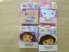 NEW Disney Princess or Hello Kitty or Dora The Explorer Girls Cotton Pajama Sets