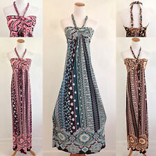 Maxi Floral Sundress Halter Boho Summer Beach Party Evening Long Length S/M/L/XL