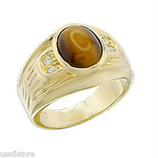 Mens Genuine Tiger Eye 18KT Gold Plated Ring New
