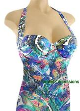 32B Victoria's Secret F/S Blue Paisley Molded Cup Pushup Halter Tankini TOP