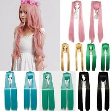 Vocaloid Hatsune Miku Anime Party Cosplay Wig Smooth Hair Straight Full Wigs Cap