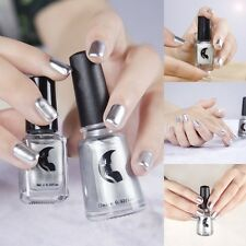 2pcs Chrome Mirror Nail Polish Liquid + Base Top Coat Set Mirror Effect 12ml/6ml