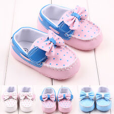 Baby Girls Sneakers Bowknot First Shoes Toddler Moccasin Polka Dot Non-slip New
