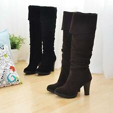 Stylish Faux Suede Cuffed Block Heel Knee High Boots Womens Riding Bootie Shoes