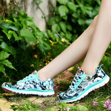 New Women's Sports Sneaker Outdoor Travel Cozy Breathable Floral Lace up Shoes