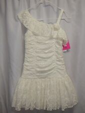 IZ AMY BYER Ivory Lace Ruffle Ruched Drop Waist Wedding Party Dress Girls 12 NWT