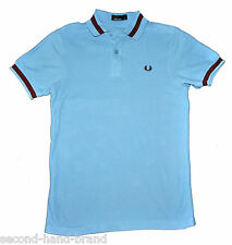 FRED PERRY DESIGNER MEN POLO SHIRT LIGHT BLUE TOP T-SHIRT SIZE XS Pit to pit 18