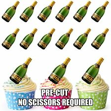 PRE-CUT 18th Birthday Champagne Bottle Edible Cup Cake Toppers Cake Decorations