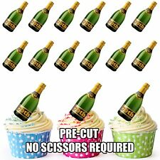 70th Birthday Champagne Bottles - Fun Fully Edible Cup Cake Toppers Decorations