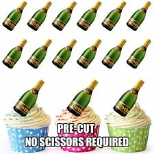 PRE-CUT 100th Birthday Champagne Bottle Edible Cup Cake Toppers Cake Decorations