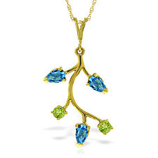 0.95 CTW 14K Solid gold fine Sweet Daiquiri Blue Topaz Peridot Necklace 16-24""