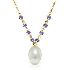 "5 CTW 14K Solid gold fine Necklace 16-24"" genuine Tanzanite pearl"