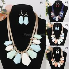 Multicolor Elegant Chunky Party Statement Necklace Earring Set Jewelry for Women