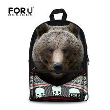 Boys Animal Travel Black Backpack Girls Kids Canvas School Shoulder Book Bag