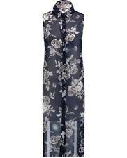 Blue Inc Womens Shirt Side Split Longline Blue Chiffon Floral Sleeveless Ladies