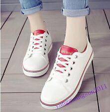 Hot Sale Womens Shoes Lace Up White Pu Leather Flats Casual New Fashion Sneakers