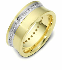 10K Two-Tone, Concave Channel Set 8MM Wedding Band, 5/8 cttw sz 4-14