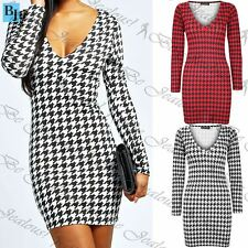 Womens Ladies DogTooth Print V Neck Tight Fitted Tunic Bodycon Short Mini Dress