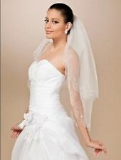 Hot sale 2-layer white/ivory elbow beads sequins bride veils wedding veil+comb