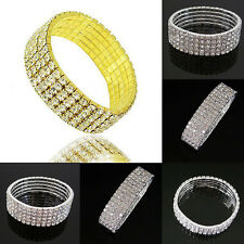 Fashion 5 Rows Crystal Rhinestone Charm Bangle Bracelet Wedding Party Jewelry