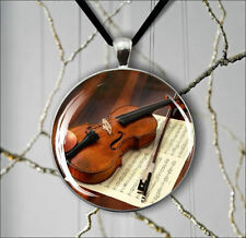 MUSIC INSTRUMENT VIOLIN #5 PENDANT NECKLACE  -b4t5b