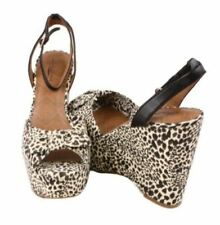 Lucky Brand Viera Womens Black/Natural Leopard Print Open Toe Wedge Sandals