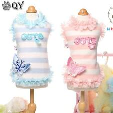Butterfly Lace Striped Dog Vests Cotton Clothing For Dogs Pet Puppy Dog Clothes