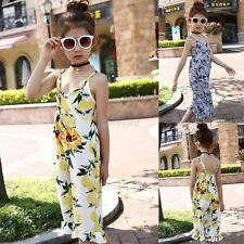 Baby Kids Girls Summer Floral Strap Romper Jumpsuit Harem Pants Outfits Clothes