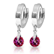 2 Carat 14K Solid White Gold Hoop Earrings Natural Pink Topaz