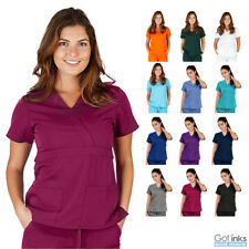 Women's UltraSoft Mock Wrap Scrub TOP Medical Nursing Uniform V-Neck 2-Pockets