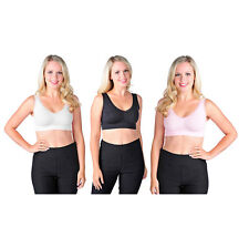 3 PACK RHONDA SHEAR LACE TRIM SEAMLESS LEISURE BRAS BLACK CLAY/PINK WHITE