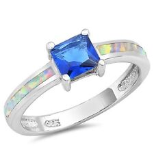 Princess Cut Blue Sapphire White Opal Promise Engagement Sterling Silver Ring