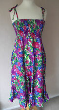 BN BHS - size 8 12 - COTTON FLORAL PINK PURPLE BLUE STRAPPY SUMMER DRESS - BNWoT