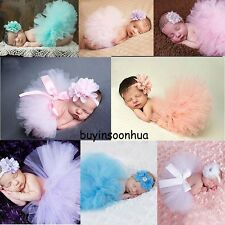 Cute Toddler Newborn Baby Girl Tutu Skirt & Headband Photo Prop Costume Outfits