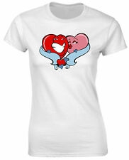 Romantic Love Hearts Kisses Cute Couple Wedding Valentine Womens T shirt