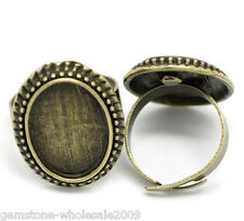 Wholesale Lots Bronze Tone Adjustable Cabochon Ring Settings 17.5mm US 7