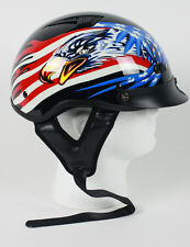 DOT VENTED HAWK MOTORCYCLE HALF HELMET BEANIE SHORTY HONOR USA -NEW