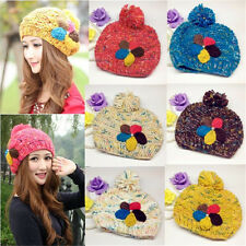 Fashion Winter Warm Women Crochet Knitting Wool Hats Beret Ski Beanie Ball Cap X