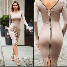 Women Long Sleeve Casual Zipper Bandage Bodycon Cocktail Club Party Sexy Dress