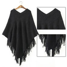 Women V-Neck Batwing Cape Tassels Fringe Pullover Knit Top Poncho Sweater HOT