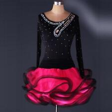 Latin Salsa cha Ballroom rumba Dance Dress Competition Girls Velvet Dancewear