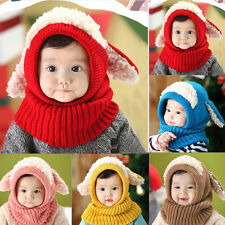 Winter Beanie Baby Kids Boy Girl Warmer Hat Hooded Scarf Earflap Knit Wool Cap X