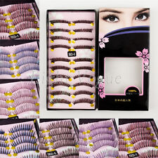10 Pairs Womens Natural Long False Eyelashes Makeup Eye Handmade Lash Lashes 007