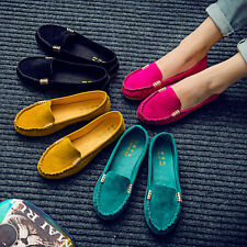 Womens Moccasin Suede Slip On Flats Loafers Ballerina Ballet Single Boat Shoes