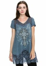 VOCAL LACE MINERAL WASH CRYSTALS FLORAL CROSS TUNIC BLUE SEXY SHIRT S M L XL